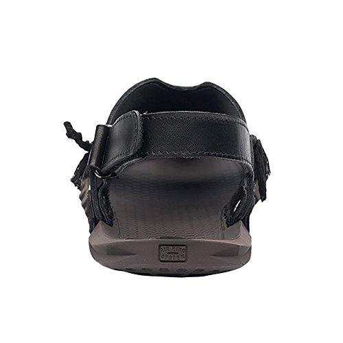 Tortor 1Bacha Mens Fashion Leather String Cut-Out Sandals Black XhuXS0