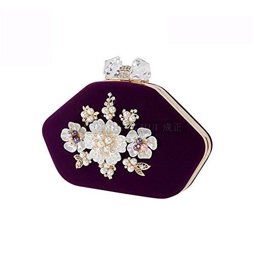 Sac à main femme Sacs Petit sac à bandoulière Grande capacité Elegant Fashion Pearls Embrayage Banquet Dîner Party Violet