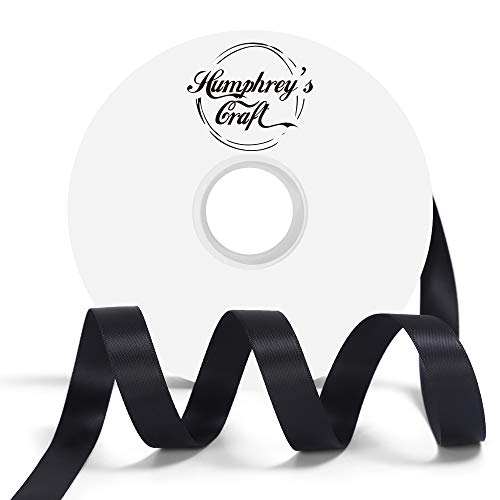 - Humphrey's Craft 5/8-inch Double Face Solid Satin Ribbon 100% Polyester Ribbon Roll-50 Yard (Black)