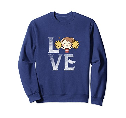 Leading Ladies Costumes (Unisex Love Cheerleading Crewneck Happy Cheerleader Cheer Costume Large Navy)