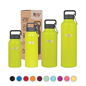 Healthy Human Water Bottle - Cold 24 Hours, Hot 12 Hours. Vacuum Insulated Stainless Steel Double Walled Thermos Flask with Carabiner & Hydro Guide - Mojito - 40 oz