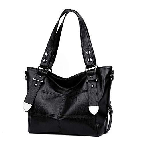 Donna Shopping PU nero Pelle Tracolla Casual Borse B8w4PPq