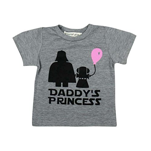 Newborn Infant Baby Girls Letter Print Daddy's Princess Short Sleeve T-Shirt Tops Outfits (Gray, 12-18 Months) from Moonker