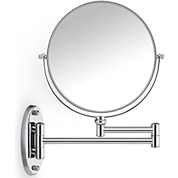 Miusco 7X Magnifying Two Sided Vanity Makeup Mirror, 8 Inch, Wall Mount,  Round