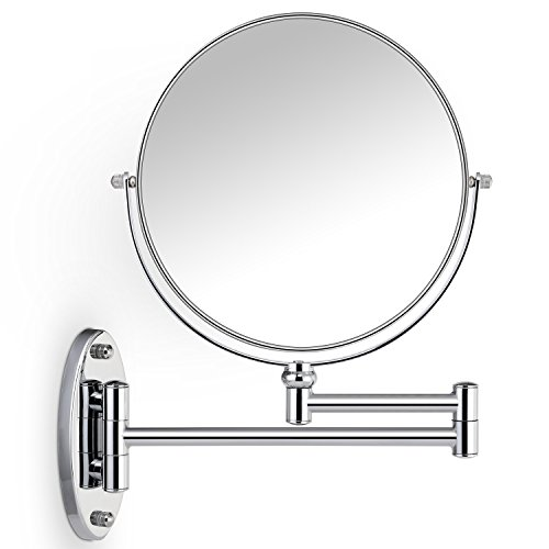 Miusco 7X Magnifying Two Sided Vanity Makeup Mirror, 8 inch, Wall Mount, Round, Chrome