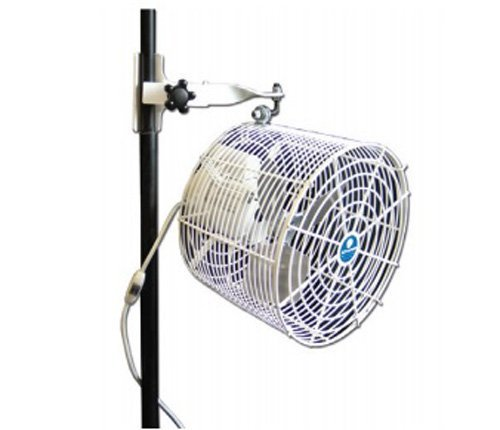 SCHAEFER VK12TF-TPM-W VersaKool Tent Fan, Wired Cord, Twin Tube Pole Mount, All White, Blade Material: Aluminum, 1/10 hp, 12""