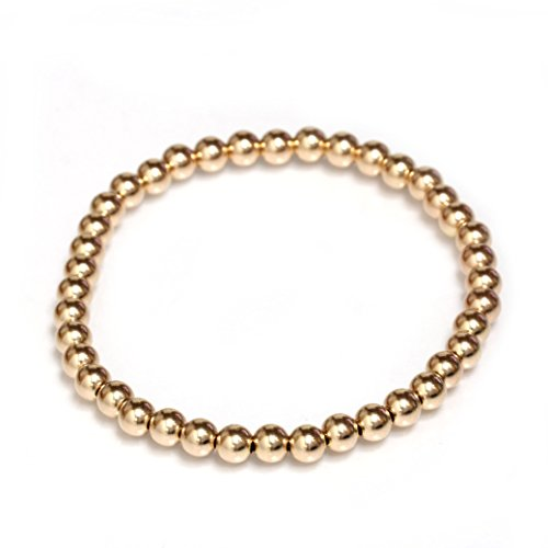 Seven Seas Pearls Bead Stretch Elastic Bracelet 14k Gold Yellow, White and Rose, Easy Slid On (6.5, Rose-Gold) from Seven Seas Pearls