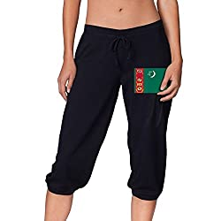Flag Of Turkmenistan Summer Women S Cropped Trousers Casual Pants Jogger Sweatpants