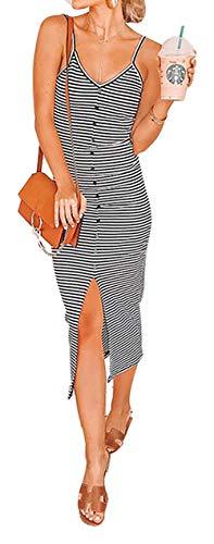 (BTFBM Women Fashion Spaghetti Strap V Neck Striped Sleeveless Split Slim Midi Dress with Buttons (Black & White Striped,)