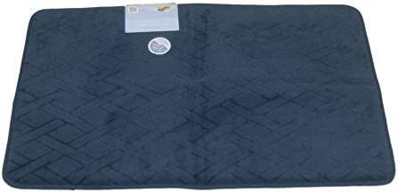 Tranquility Luxurious Memory Foam Dark Blue Bath Mat Skid Resistant Rug 20x32