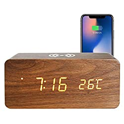 Clocks To Mobile Phone Wireless Charging Station Electronic LED Wooden Multi-function Home Desktop Digital Travel Alarm Clock for Bedrooms