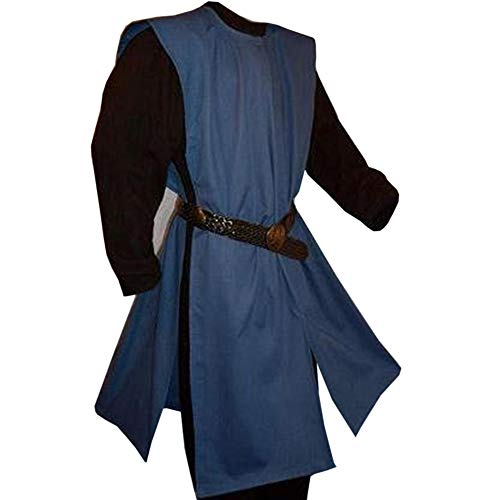 Medieval Tunics For Mens (Cicy Bell Men Medieval Tunic LARP Suits Tabard Renaissance Halloween Cosplay Robe Costume Shirt)