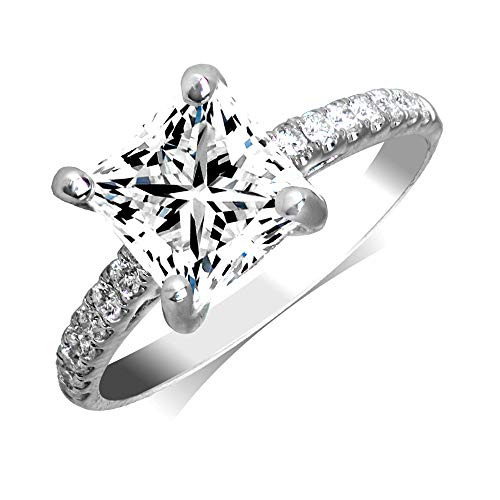 Manda Collection 0.88cttw Princess Cut Diamond 18K White Gold Engagement Ring (Center Diamond GIA Cerftified 0.57-Carat, E-F Color, and I1-I2 Clarity) (7)