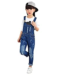 Kidscool Girls Classic Big Bib Ripped Holes Jeans Overalls Pants