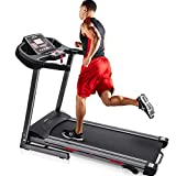 Merax Heavy Duty Electric Folding Treadmill Running Jogging Machine, Shock-Absorbing Double Layer Running Board, Large LCD Panel with Phone/Pad/Cup Holder (Black)