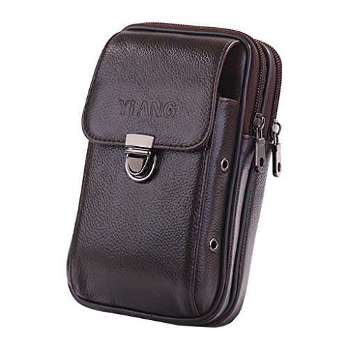 Crytech Men Leather Wallet Zipper Pouch Belt Waist Pack with Keyring Solid Small Phone Carrying Case Holster Coin Purse Fanny Bag Multipurpose Cross Body Hip Bum Bag for Business Work (B1)