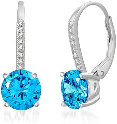 Sterling Silver Cubic Zirconia Created Gemstone Birthstone Leverback Earring