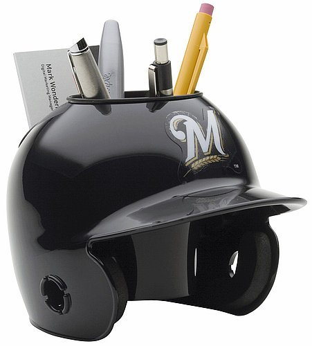 (Schutt MLB Milwaukee Brewers Authentic Mini Batting Helmet Desk Caddy )