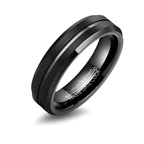 - LerchPhi Mens Black Tungsten Carbide Ring 6mm 8mm Brushed Finish with Center Groove Free Personalized Engrave Supported Comfort Fit Wedding Band