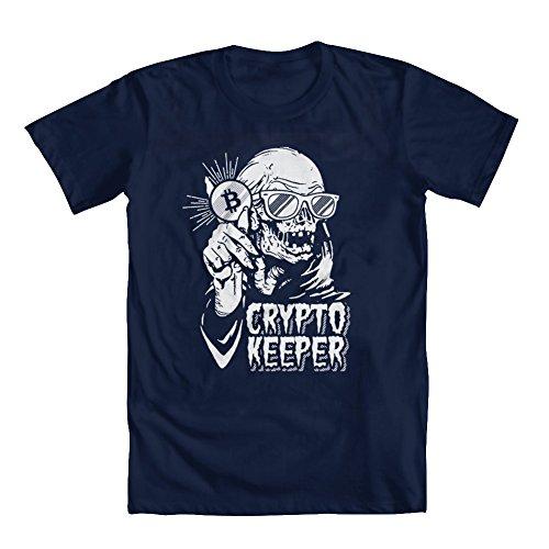 - GEEK TEEZ Crypto Keeper Men's T-Shirt Blue X-Large
