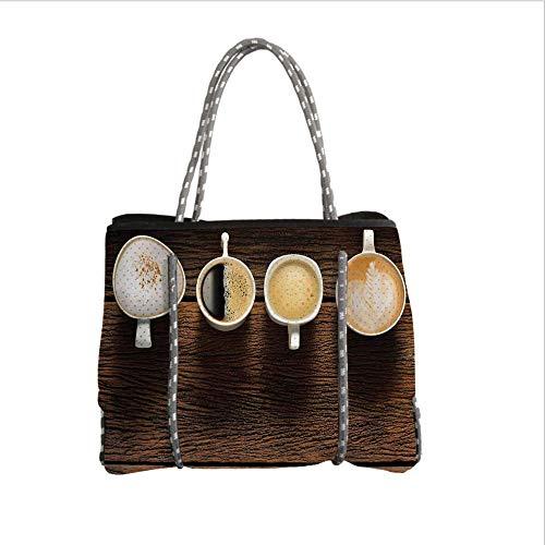 iPrint Neoprene Multipurpose Beach Bag Tote Bags,Modern,Coffee Beverage Mug Cup Utensils Image Rustic Design Home Cafe Interior Kitchenware Art,Brown White,Women Casual Handbag Tote Bags