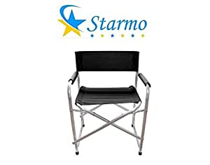 starmo negro o verde y lona de aluminio de directores silla de camping plegable, Black x1