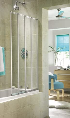 4 Aqualux aquarius panel mampara de baño plegable plateado: Amazon.es: Hogar