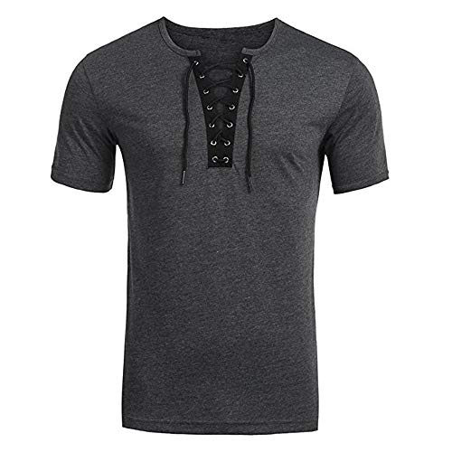 NUWFOR Men's Trend Personal Band Short Sleeve T-Shirt Pure Color Blouse Top(Gray,M US/XL AS Bust:39.3'' by NUWFOR (Image #1)
