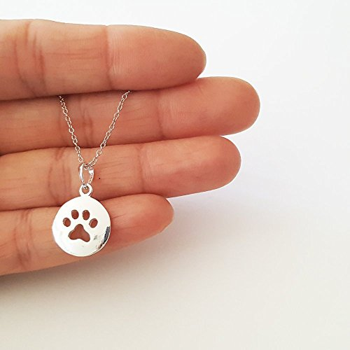 Round Cut Out Paw Print Sterling Silver Pendant Necklace