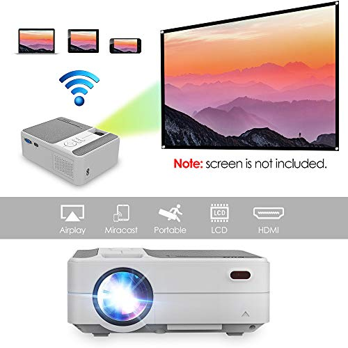 2019 New Mini Portable Home Theater Projector 3200 Lumen 1280720 HD Multimedia Video Projectors for Gaming Movie Blu Ray DVD Laptop PC Smarphone with WiFi Wireless Screen Mirror