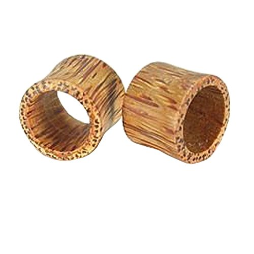 Coconut Wood Plug For Ear – Hollow Earlet Gauge With Natural Wood Design, 4mm, 6g – Price Per 1 Earring Hollow Earlets Ear Plugs