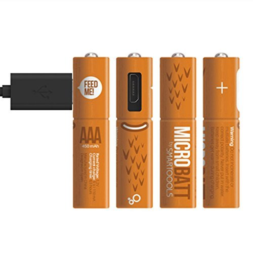 Smartoools 4-Piece 450mAh Micro-USB AAA Ni-MH Rechargeable Battery with 2 in 1 Charging Cable, Orange