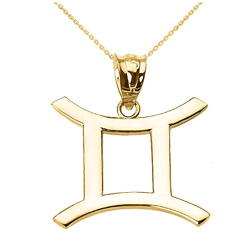 Personalized 14k Yellow Gold Gemini Zodiac Sign Pendant Necklace, 16