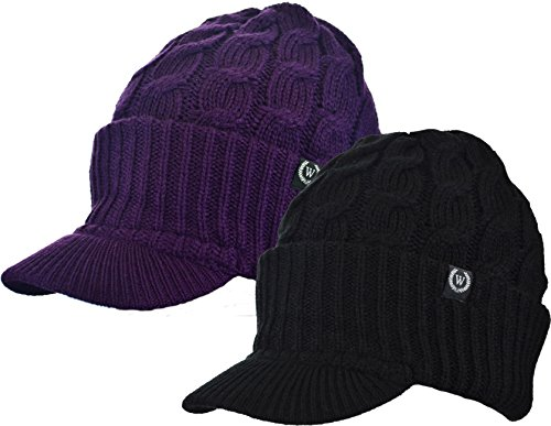 Winter Newsboy Cable Knitted Visor Beanie Bill Winter Warm Hat (Black & Purple) (Best Snow Cones In Houston)