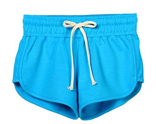 Casuale Hot Pants Estivi Pantaloncini Lago Sport Coulisse Corti Pantaloni Da Donna QitunC Elastica Blu Vita qPT007