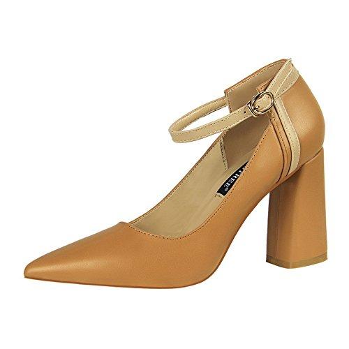 y Khaki punta 8 de de tacon de centímetros alto hebillas espesor par Un zapatos de zapatos de XiaoGao zapatos pAOqUw7