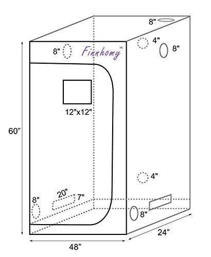 Finnhomy Multiple Sized Grow Tent 48 x24 x60  48 x48 x80  36 x36 x72  96 x48 x80  ...  sc 1 st  American Gardener & Multiple Sized Grow Tent 48