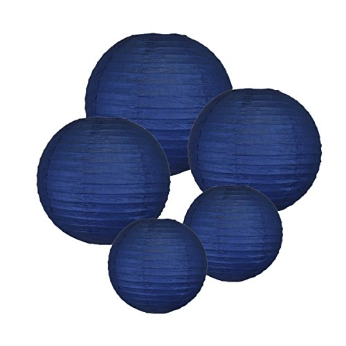Just-Artifacts-NAVY-ChineseJapanese-Paper-Lanterns-Assorted-2-8inch-2-12inch-1-16inch-Click-for-more-colors