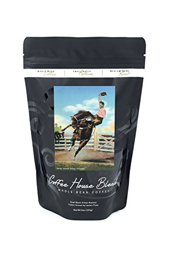 Western Americana - Rodeo Scenes; Smoky Branch Riding a Bucking Glasseye (8oz Whole Bean Small Batch Artisan Coffee - Bold & Strong Medium Dark Roast w/ Artwork)