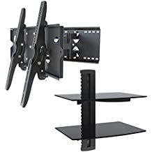 """2xhome – NEW TV Wall Mount Bracket (Dual Arm) & Two (2) Double Shelf Package – Secure Cantilever LED LCD Plasma Smart 3D WiFi Flat Panel Screen Monitor Moniter Display Large Displays - Long Swing Out Dual Double Arm Extending Extendible Adjusting Adjustable - Dual 2 Tier Under TV Tempered Glass Floating Hanging Shelves Shelving Unit Rack Tower Set Bundle - Full Motion 15 degree degrees Tilt Tilting Tiltable Swivel Articulating Heavy Duty Strong Durable Support - Mounted Mounting Home Entertainment Media Center Multimedia Furniture Family Living Room Game Gaming - Management Designer Organization Space Saver System HDTV HDMI HD Video Accessories Audio Video AV Component DVR DVD Bluray Players Cable Boxes Consoles Satellite XBox PS3 - Compatible VESA 100mm x 100mm, 200mm x 200mm, 400mm x 400mm , 600mm x 400mm, 700mm x 450mm, 718mm x 450mm, 720mm (W) x 470mm(H) - Universal Fit for LG Electronics Samsung Vizio Sharp TCL Toshiba Seiki Sony Sansui Sanyo Philips RCA Magnavox Panasonic JVC Insignia Hitachi Emerson Element SunBrite SunBright 45"""" 46"""" 47"""" 48"""" 49"""" 50"""" 51"""" 52"""" 53"""" 54"""" 55"""" 56"""" 57"""" 58"""" 59"""" 60"""" 61"""" 62"""" 63"""" 64"""" 65"""" 66"""" 67"""" 68"""" 69"""" 70"""" 71"""" 72"""" 73"""" 74"""" 75"""" 76"""" 77"""" 78"""" 79"""" 80"""" 81"""" 82"""" 83"""" 84"""" 85"""""""