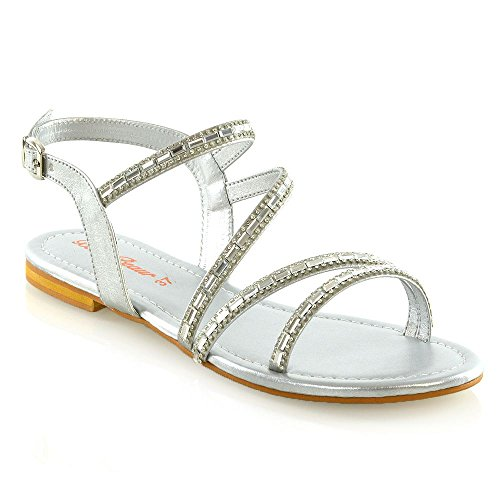 a489ab71f ESSEX GLAM Womens Flat Sandals Ladies Silver Open Toe Embellished Strappy  Diamante Shoes 10 B(