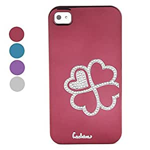 Protective Electroplated Diamond Four Leaf Clover Design Back Case for iPhone 4 / 4S --- COLOR:Black