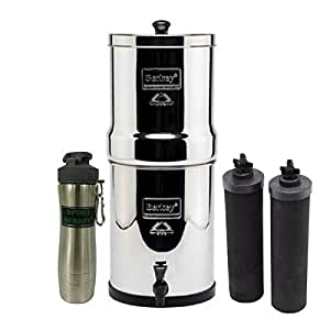 Travel Berkey Stainless Steel Water Filtration System w/ 2 Black Filters and Berkey Stainless Steel Bottle - Silver
