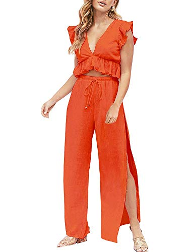 FANCYINN Womens 2 Pieces Outfits Deep V Neck Crop Top Side Slit Drawstring Wide Leg Pants Set Jumpsuits (Orange, - Leg Wide Trousers Detail