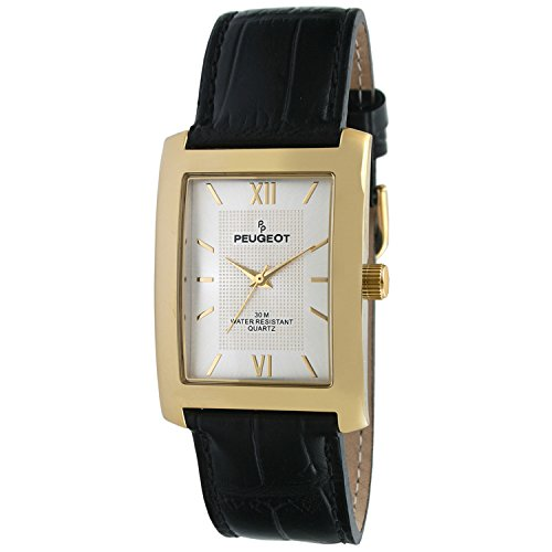 Peugeot Rectangle Men's Everyday Leather Band Luxury Dress Business Watch 2033 ()