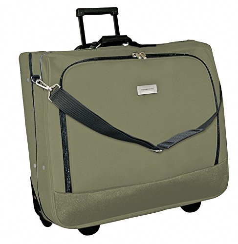 Geoffrey Beene Deluxe Rolling Garment Bag - Travel Garment Carrier With Wheels - Olive Green