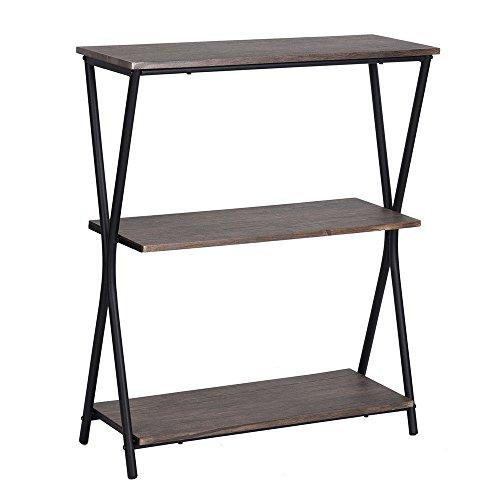 HouseinBox 3 Tiers Retro Metal Bookcase Storage Display Shelves Unit Wooden Bookshelf Walnut,LXWXH:31'' x 11'' x 37.4'' (Bookcase Round Walnut)