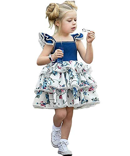 (Baby Flower Girl Fancy Ruffles Birthday Party Fly Sleeve Princess Floral)