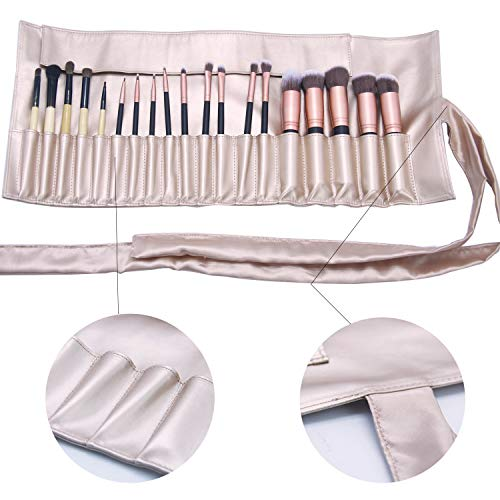 bb320fb4bc Makeup Brush Organizer Rolling Bag Cosmetic Case PU Leather - Import It All