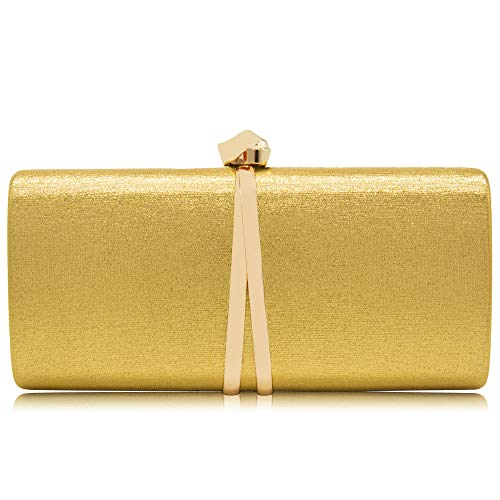 Women Clutches Solid Evening Bag Sparkling Metallic Clutch Purses For Wedding And Party (Golden)